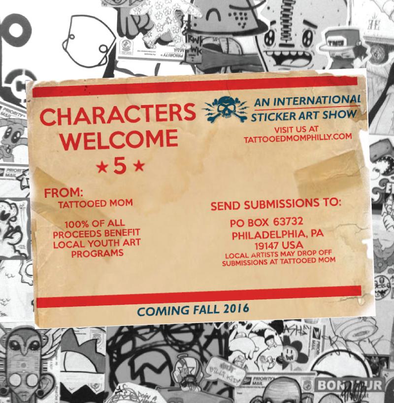 Characters welcome 5 an international sticker art show