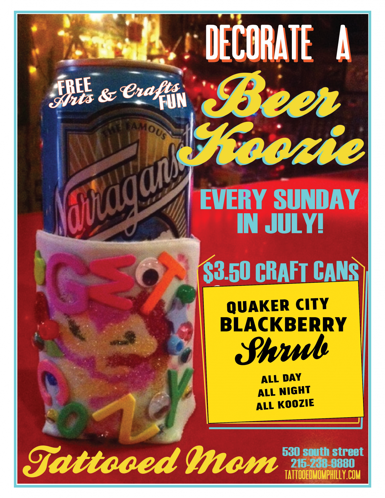 FREE Sunday Arts Crafts Beer Koozie July 15th